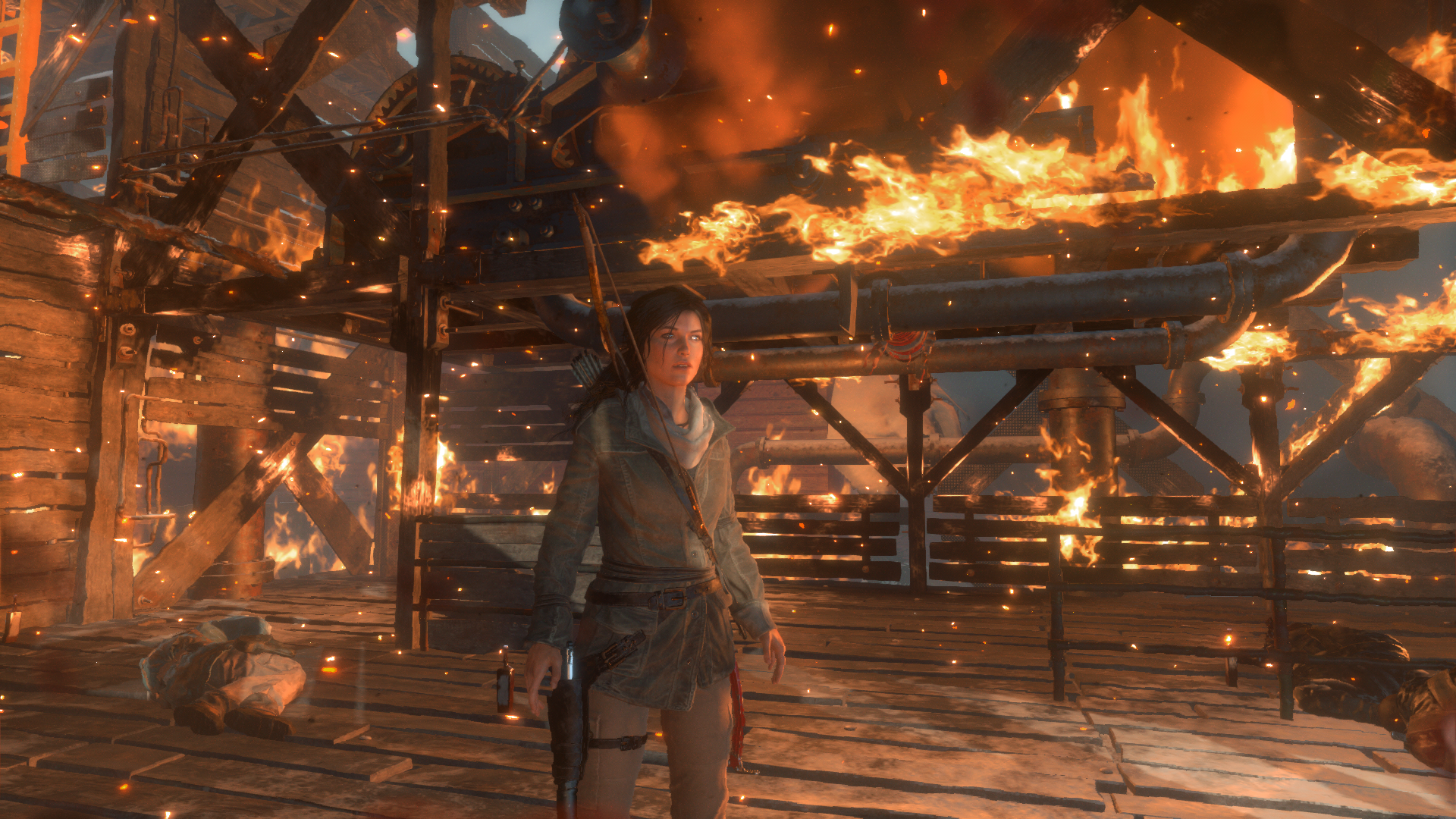 rise of the tomb raider fire warm