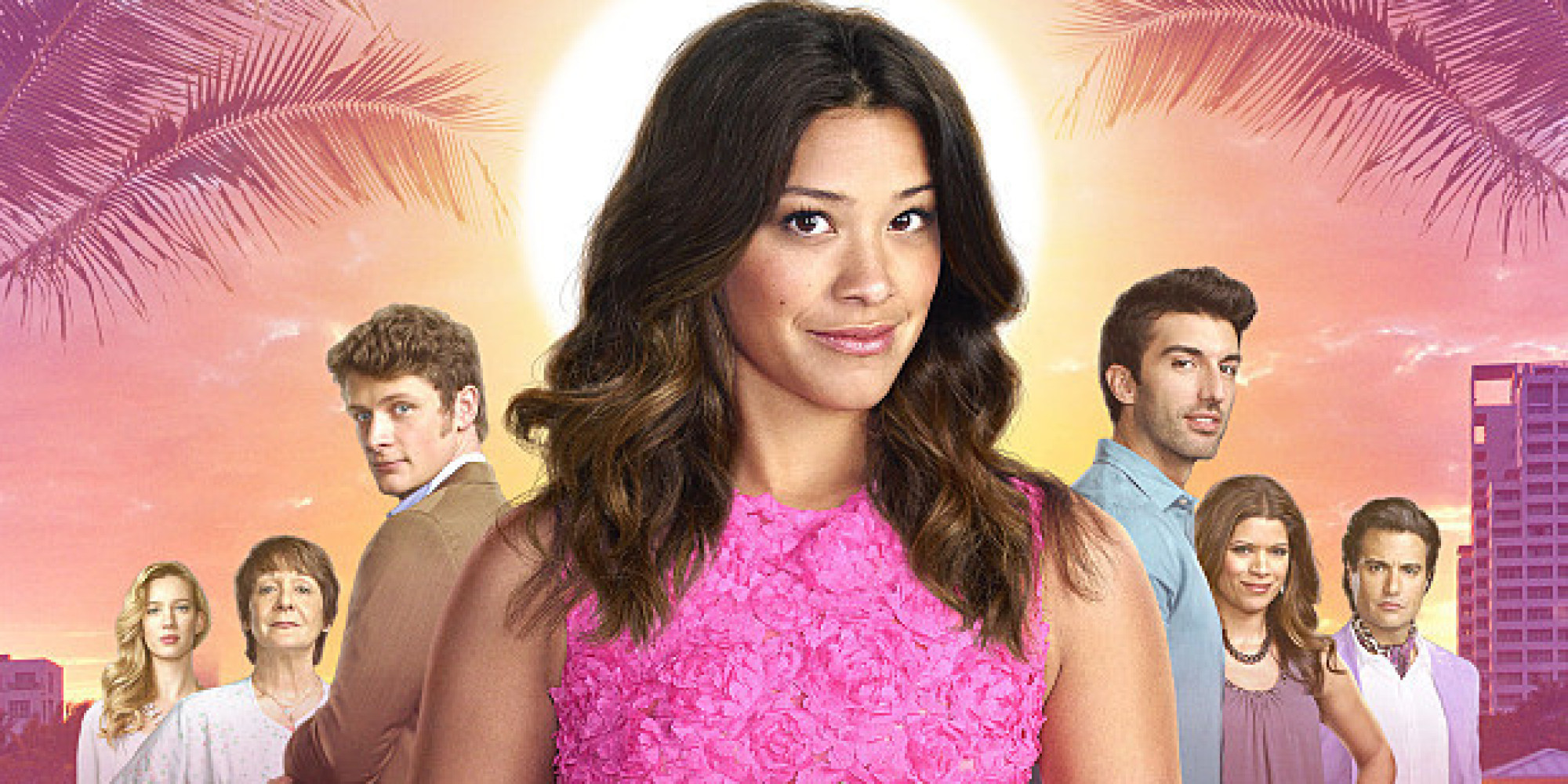 sherlock Jane The Virgin -- Image Number: JAV1_Cast.jpg -- Pictured (L-R): Yael Grobglas as Petra, Ivonne Coll as Alba, Brett Dier as Michael, Gina Rodriguez as Jane, Justin Baldoni as Rafael, Andrea Navedo as Xo and Jaime Camil as Rogelio -- © 2015 The CW Network, LLC. All rights reserved.