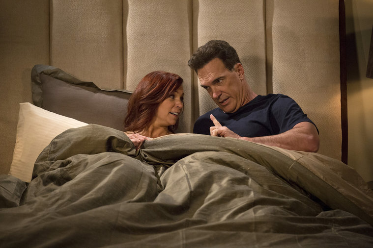 CROWDED -- Pilot -- Pictured: (l-r) Carrie Preston as Martina, Patrick Warburton as Mike -- (Photo by: Justin Lubin/NBC)